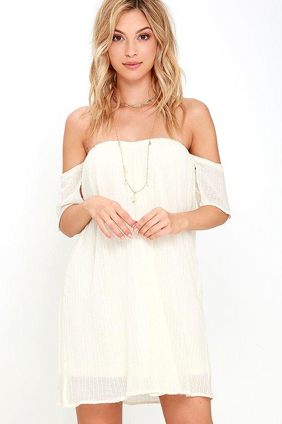 a711238c826d O Neill Dutch Dress - Cream Dress - Off-the-Shoulder Dress -  59.50