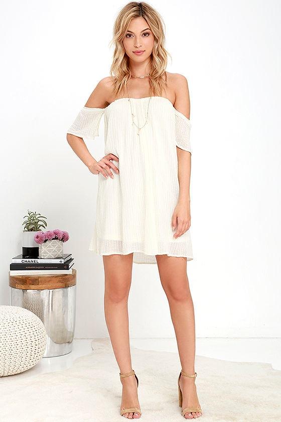 b765457543b8 O Neill Dutch Dress - Cream Dress - Off-the-Shoulder Dress -  59.50