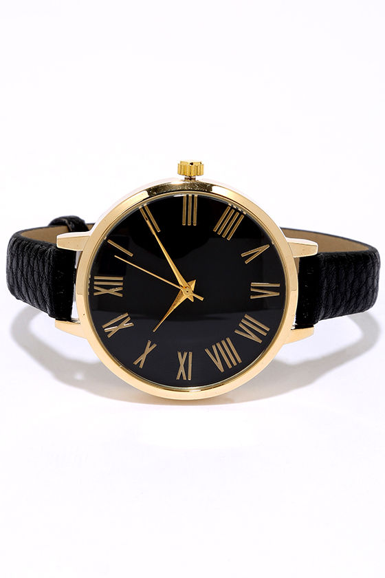 Time Can Tell Gold and Black Leather Watch 3
