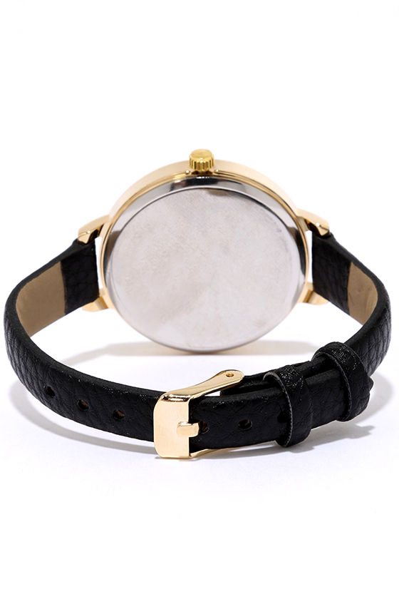 Time Can Tell Gold and Black Leather Watch 4