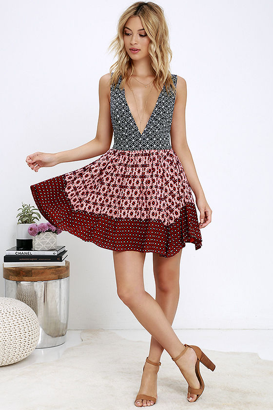 Lovely Floral Print Dress - Blue and Red Dress - Lace-Up Dress ...