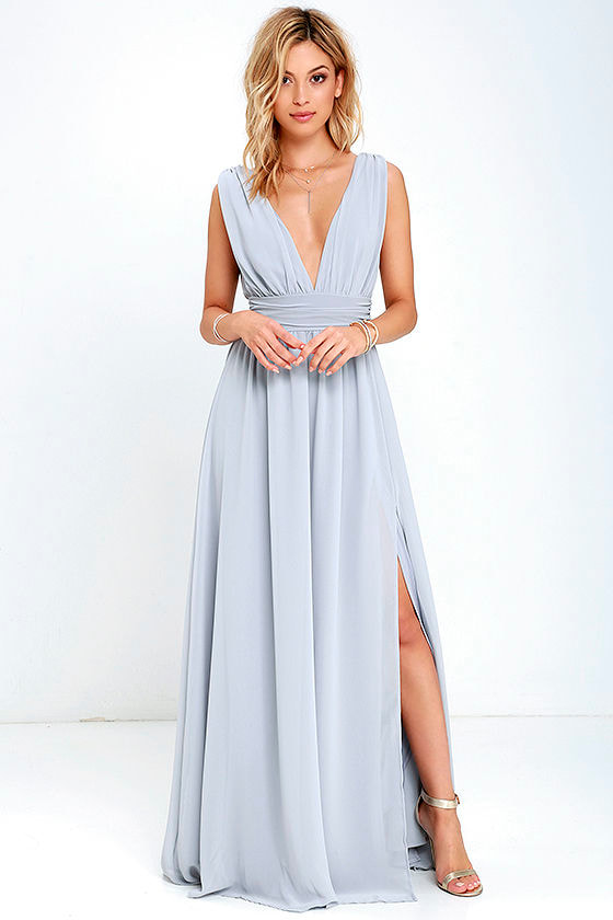 Heavenly Hues Light Grey Maxi Dress 1