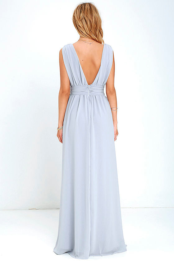 Light Grey Gown - Maxi Dress - Sleeveless Maxi - $84.00