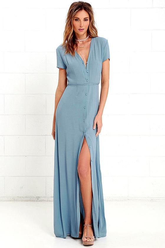 53ef48df5f Lovely Dusty Blue Dress - Short Sleeve Dress - Maxi Dress - $63.00