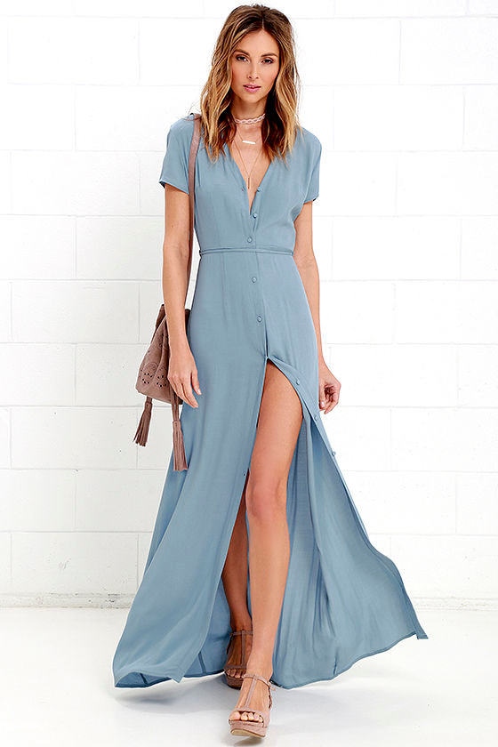 Lovely Dusty Blue Dress - Short Sleeve Dress - Maxi Dress - $63.00