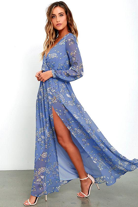 be4637814c2e9 Lovely Periwinkle Blue Dress - Paisley Print Dress - Maxi Dress - $89.00