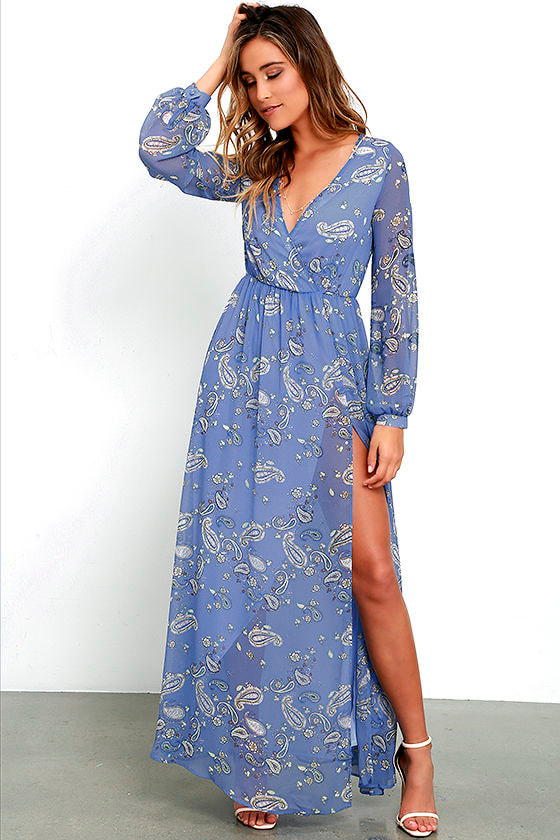 Lovely Periwinkle Blue Dress - Paisley Print Dress - Maxi Dress ...
