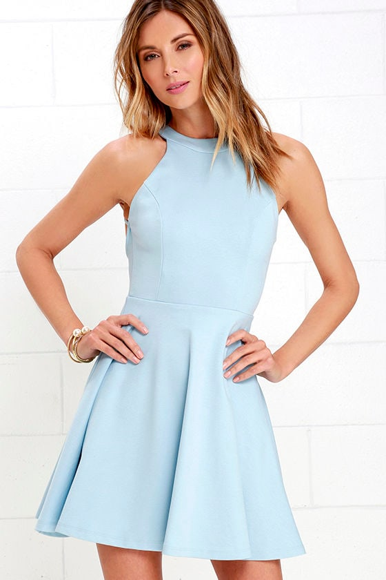 Cute Light Blue Dress - Skater Dress - Backless Dress - $52.00