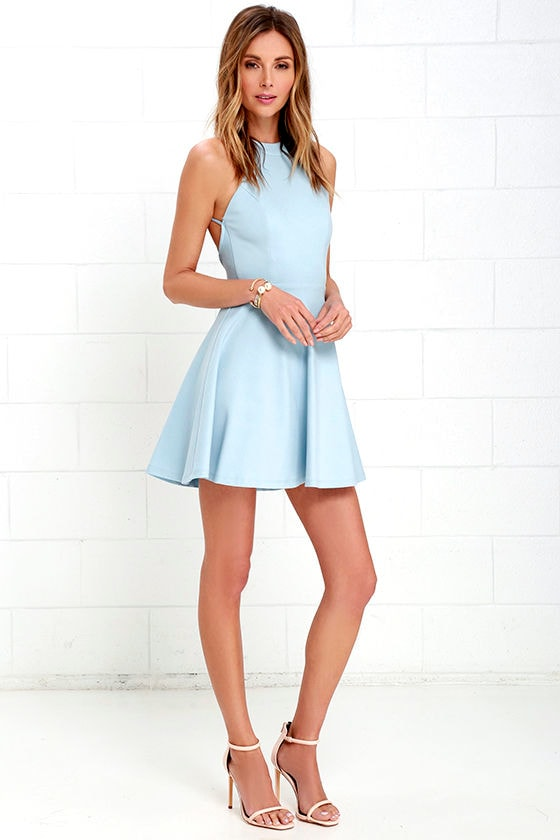 d7b332953b Cute Light Blue Dress - Skater Dress - Backless Dress -  52.00