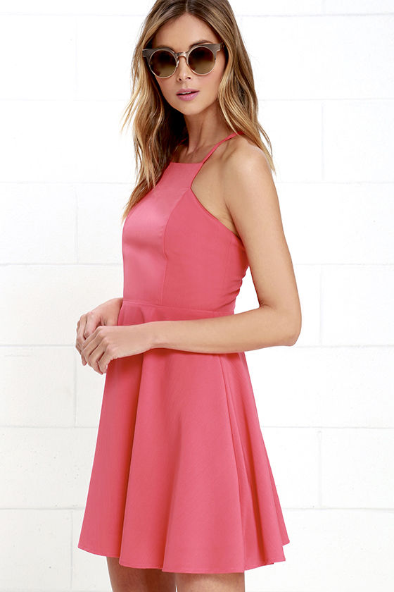 Cute Coral Pink Dress - Skater Dress - Fit-and-Flare Dress - $54.00