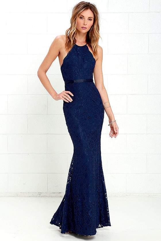 Zenith Navy Blue Lace Maxi Dress 1
