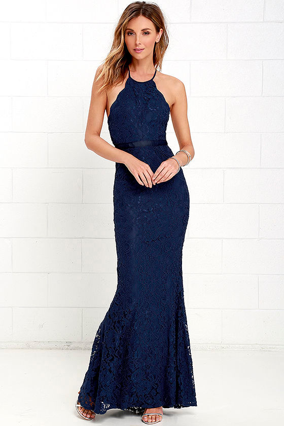 Zenith Navy Blue Lace Maxi Dress