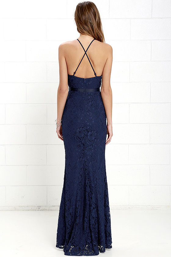Zenith Navy Blue Lace Maxi Dress 5