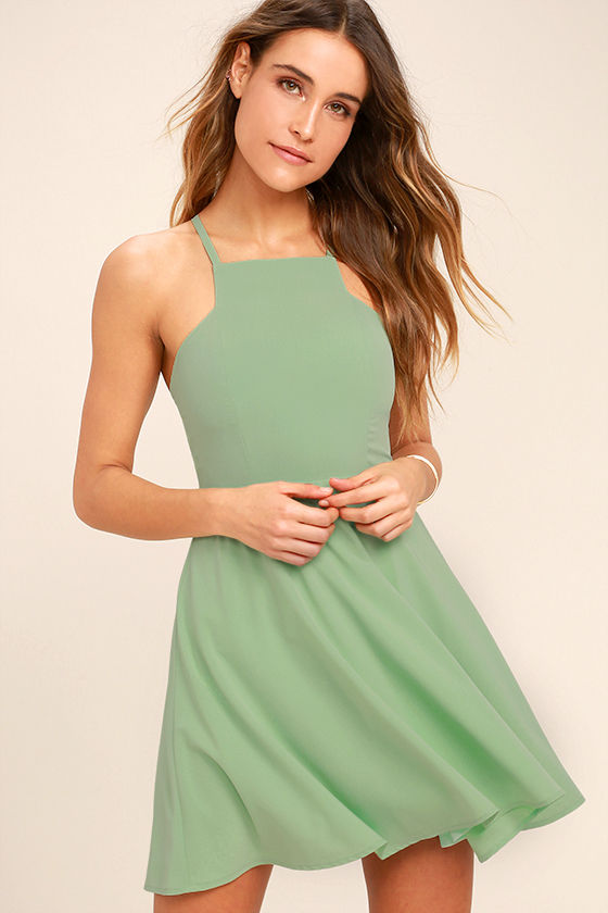 d7484068d1f9 Call to Charms - Cute Sage Green Dress - Fit-and-Flare Dress - Skater Dress  - Short Dress