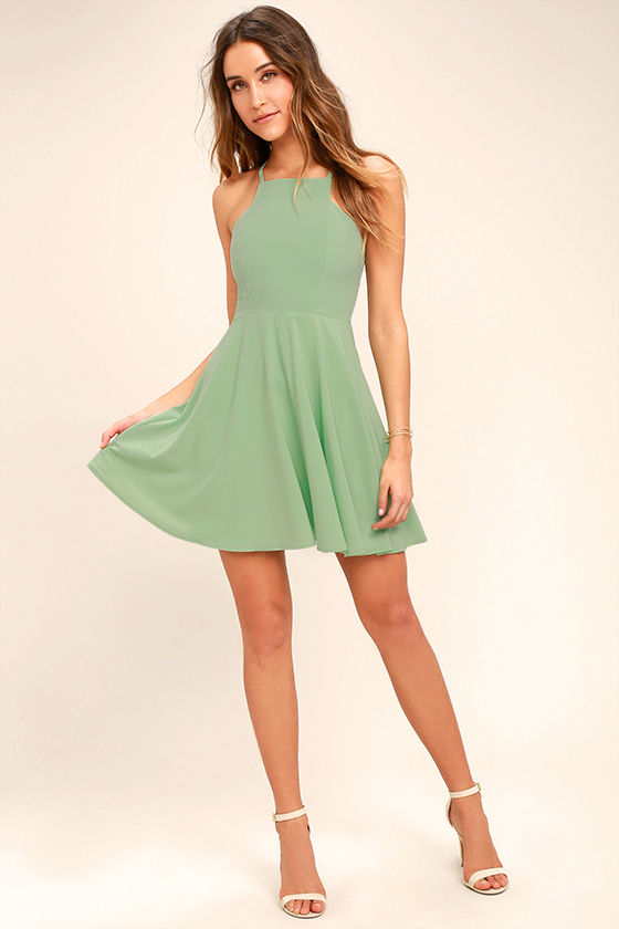 Call to Charms Sage Green Skater Dress 3