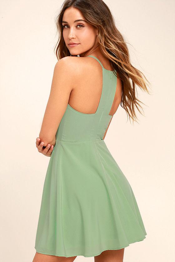 Call to Charms Sage Green Skater Dress 4