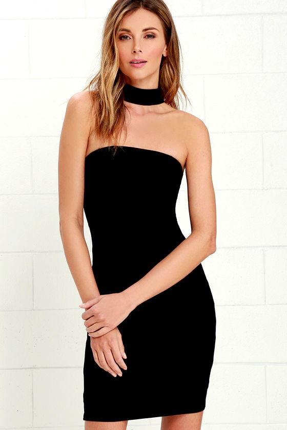 Sexy Black Dress - LBD - Bodycon Dress - Choker Dress - $54.00