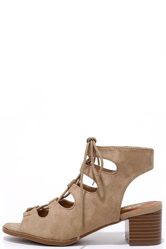 Talk That Talk Natural Suede Lace-Up Sandals 1