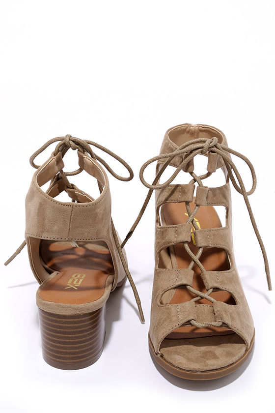 Talk That Talk Natural Suede Lace-Up Sandals 3