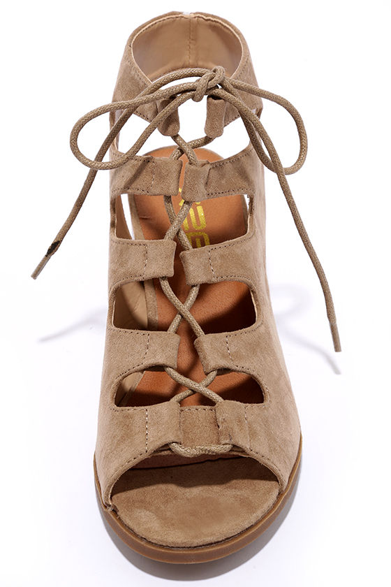 Talk That Talk Natural Suede Lace-Up Sandals 5