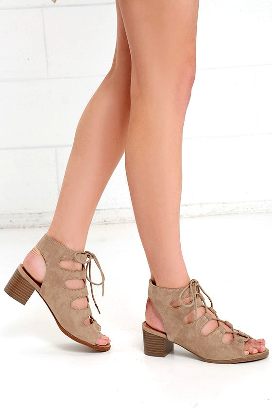 Talk That Talk Natural Suede Lace-Up Sandals 2