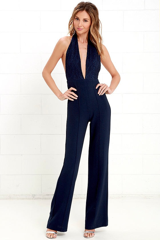 Sexy Navy Blue Jumpsuit - Halter Jumpsuit - Lace Jumpsuit - $54.00