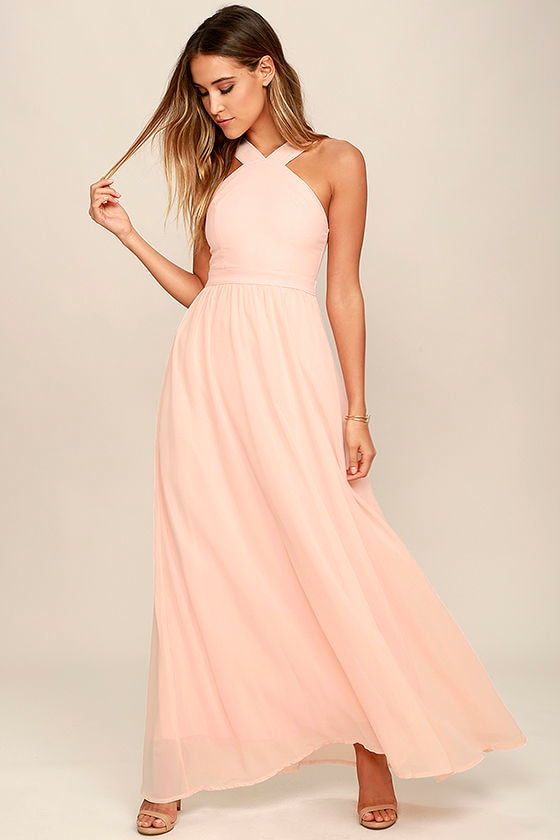 9dca9344ce Air of Romance Peach Maxi Dress | Alltheclothing - Cute Dresses ...