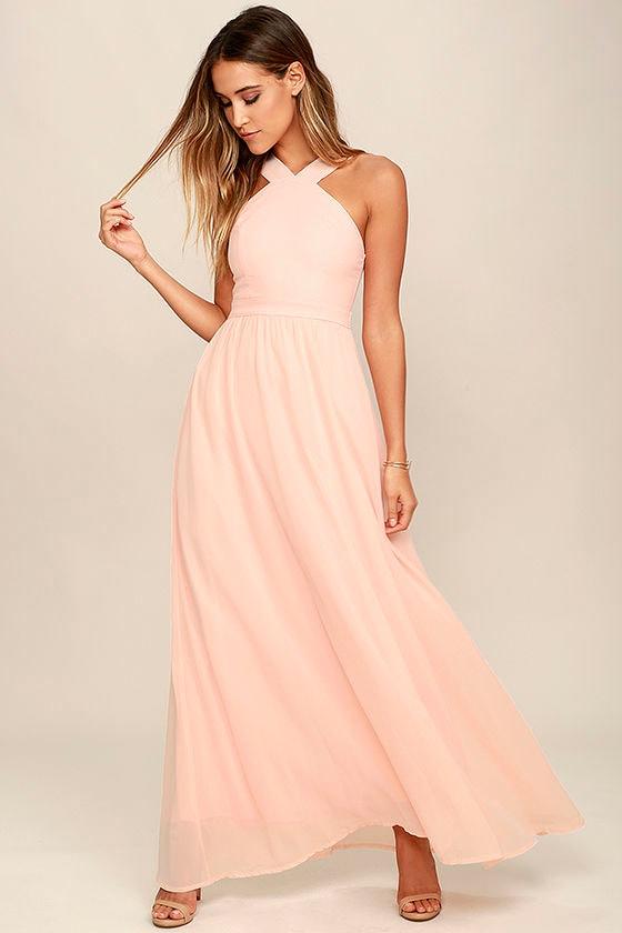 Beautiful peach dress maxi dress halter dress for Shoes for maxi dress wedding