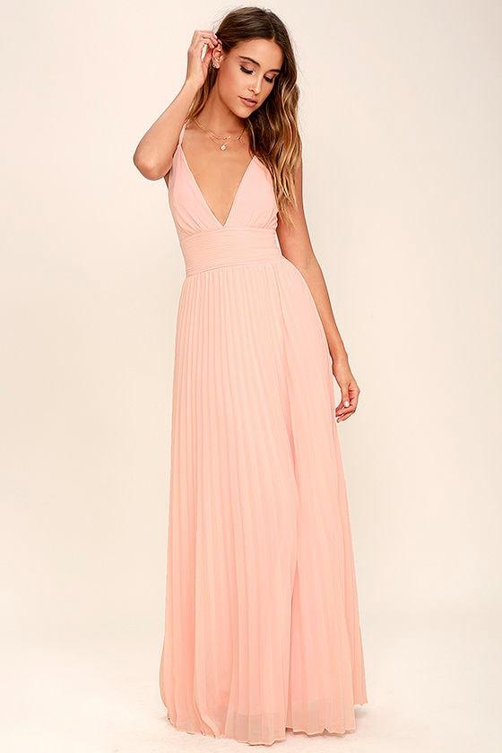 Stunning Peach Dress - Pleated Maxi Dress - Peach Gown - $78.00