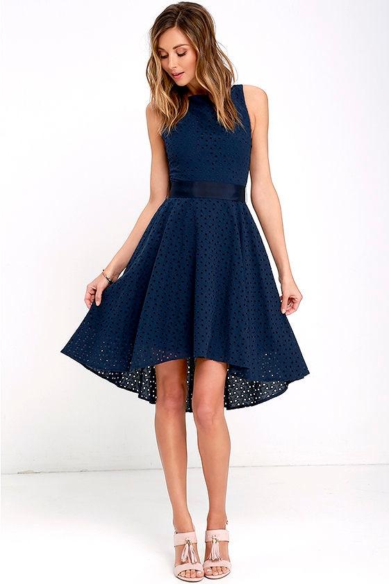 aed1bda321 BB Dakota Lilyana Dress - Navy Blue Embroidered Dress - High-Low ...