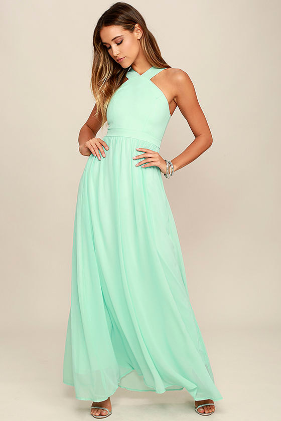 Beautiful Mint Dress - Maxi Dress - Halter Dress - $68.00