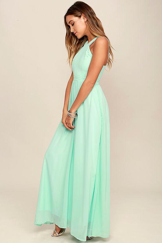 Beautiful Mint Dress - Maxi Dress - Halter Dress - $68.00