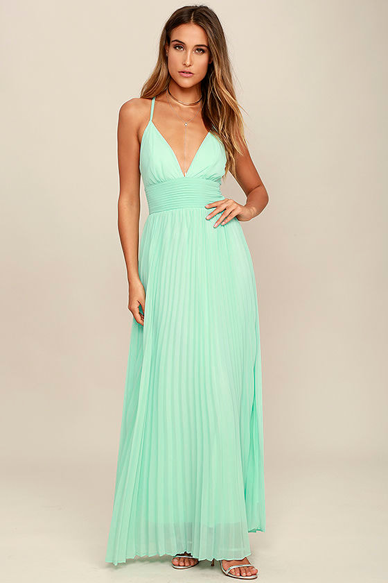 Stunning Mint Dress - Pleated Maxi Dress - Mint Gown - $78.00