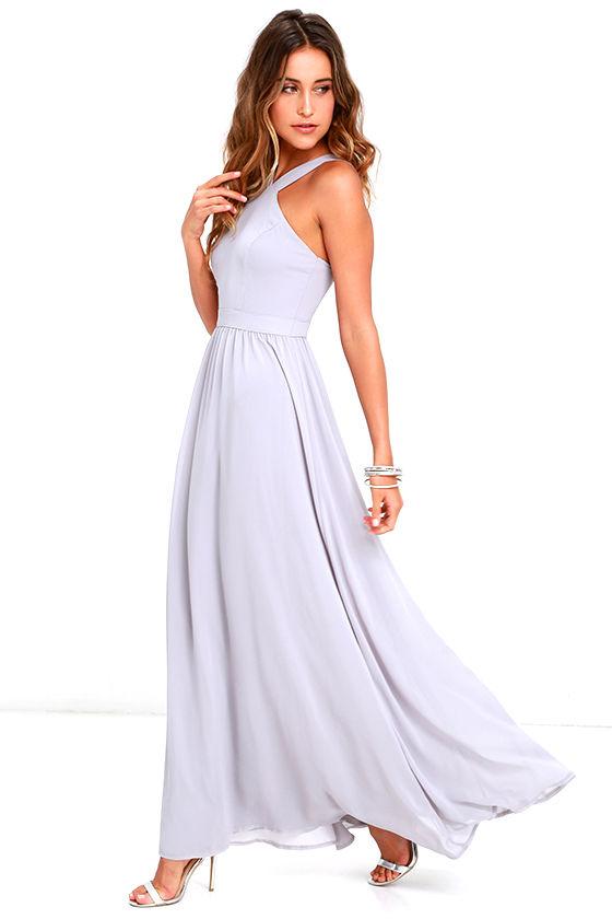 Beautiful Grey Dress - Maxi Dress - Halter Dress - $68.00