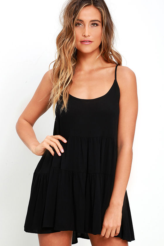 Cute Black Dress - Babydoll Dress - Lace-Up Dress - $39.00