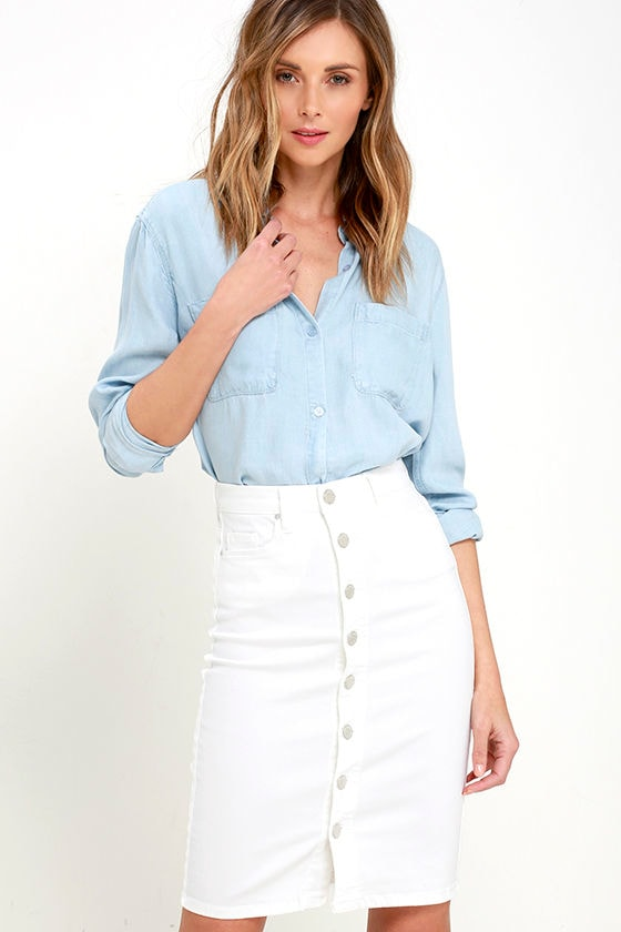 Blank NYC White Denim Skirt - Button Front Skirt - Midi Skirt - $75.00