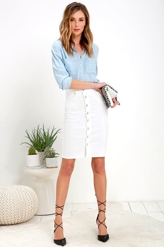 a695c982a3 Knee Length White Denim Skirt - Redskirtz