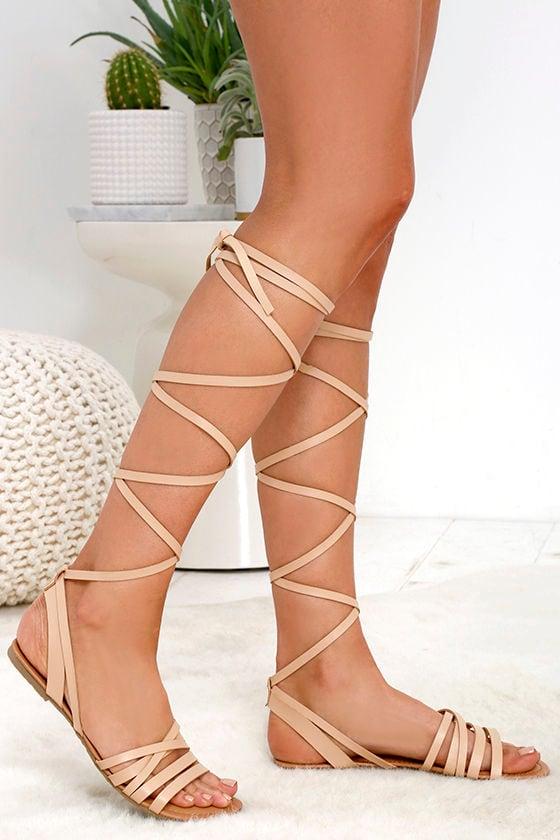 3b90c0bc1134 Cute Nude Sandals - Flat Sandals - Leg Wrap Sandals -  19.00