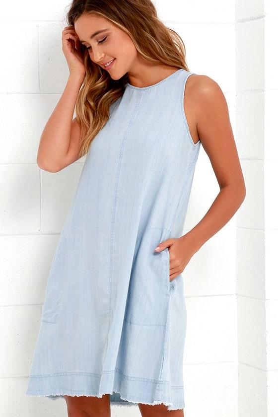 a3c11f9ff506 Cute Light Blue Dress - Chambray Dress - Shift Dress - $63.00