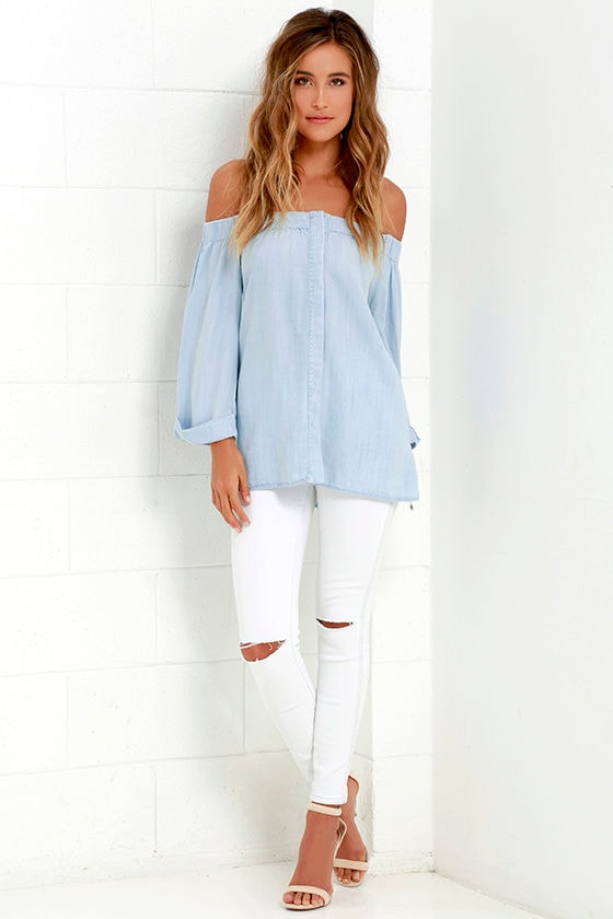 1e011e21bc Cute Off-the-Shoulder Top - Light Blue Top - Chambray Top -  66.00