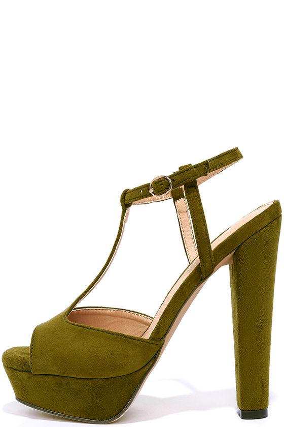Cute Olive Heels - T-Strap Heels
