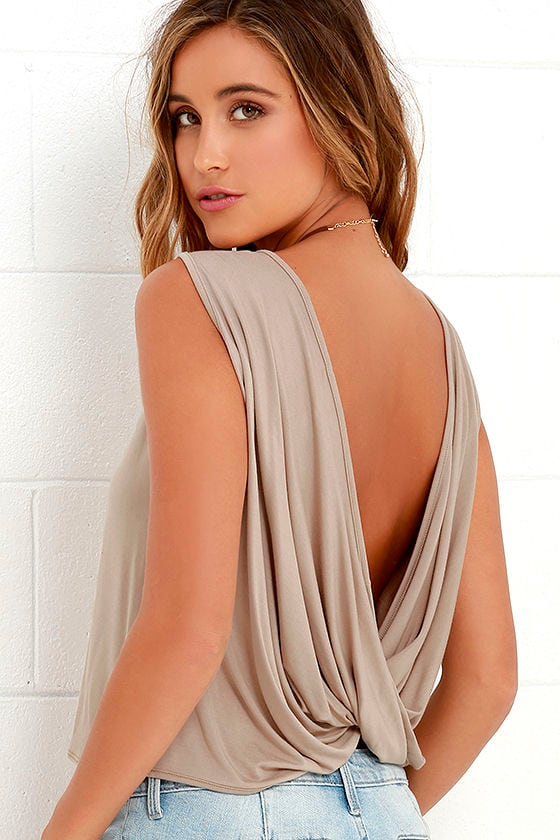 Tango Twist Beige Sleeveless Top 1