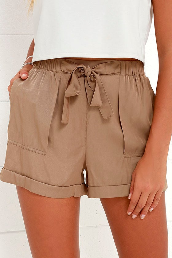 Cute Brown Shorts - High-Waisted Shorts - Tie-Front Shorts - $35.00