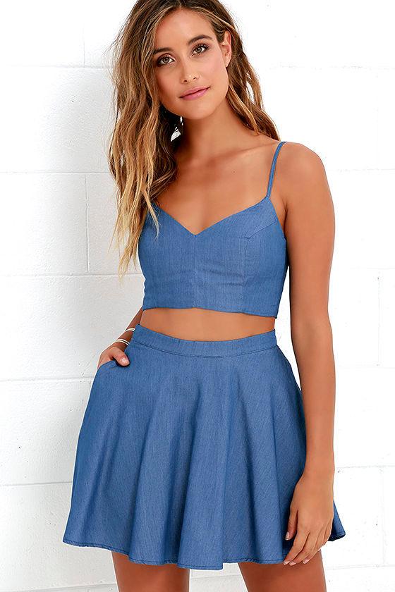 0c2f58607e Blue Skater Dresses. Accompany Me Blue Chambray Two-Piece Dress