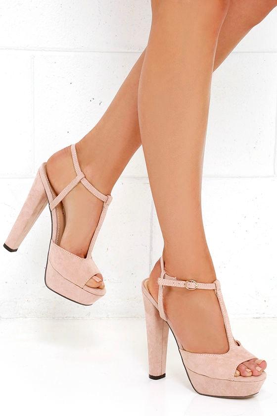 Cute Nude Heels - T-Strap Heels - Platform Sandals - $37.00