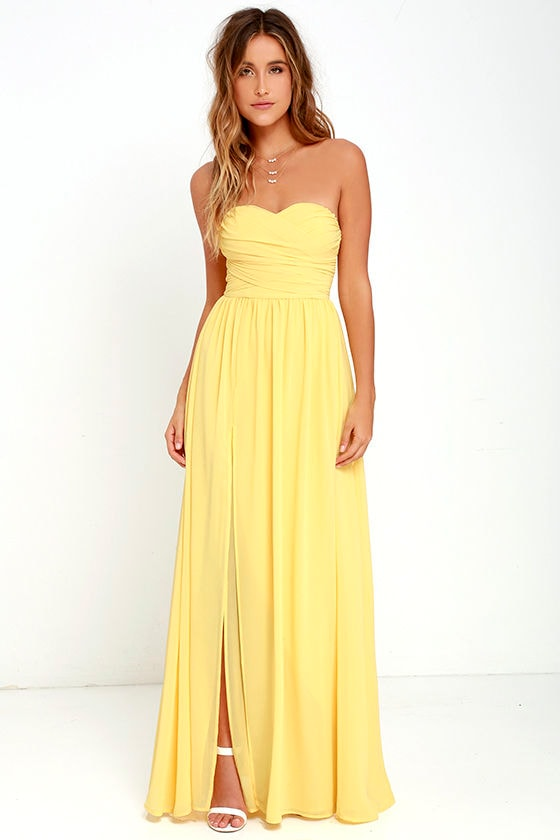 Lovely yellow gown strapless dress maxi dress for Yellow maxi dress for wedding