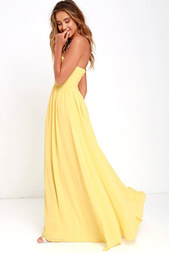 Lovely Yellow Gown - Strapless Dress - Maxi Dress - $82.00