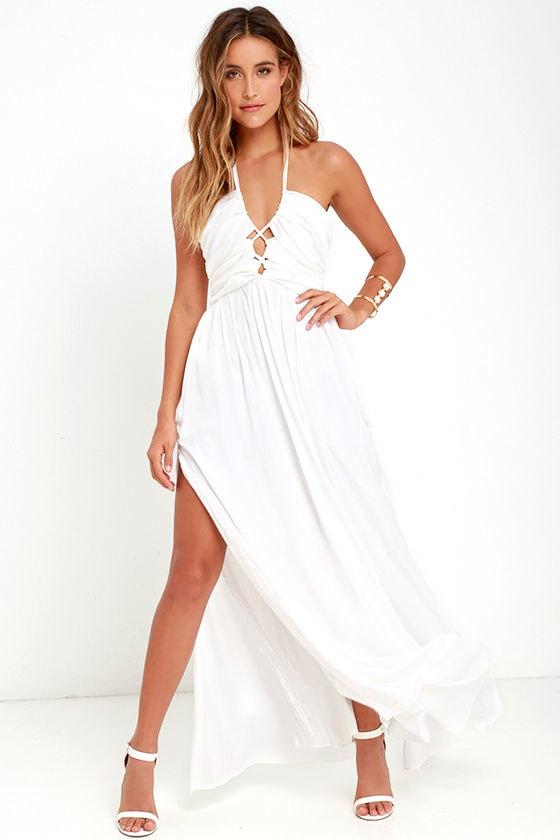 9600f448b338 Stunning Maxi Dress - Ivory Dress - Halter Dress -  82.00