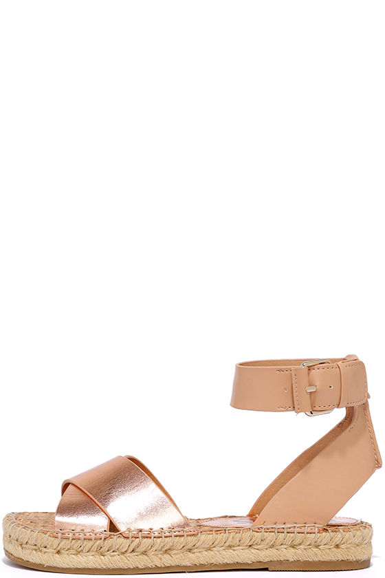 811c41a94 Cute Espadrille Sandals - Rose Gold Sandals - Flat Sandals -  70.00