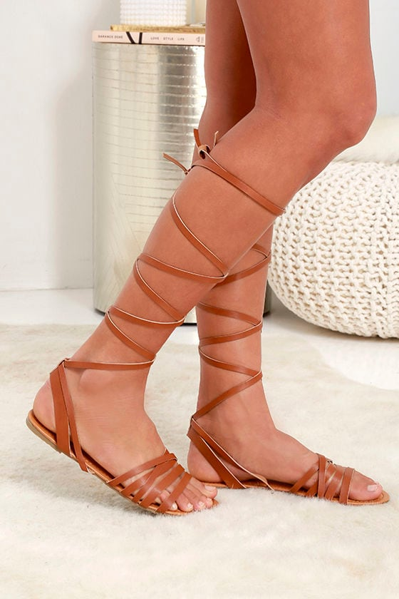 9dd033a7b94 Cute Tan Sandals - Flat Sandals - Leg Wrap Sandals -  19.00
